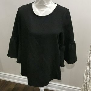 Pleione black oversized blouse with bell sleeves